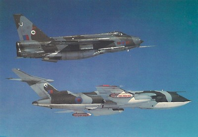 F.6 XS935 'J' from 5 Squadron at Binbrook formates on Victor tanker XL160 of 55 Squadron, RAF Marham after refuelling over the North Sea.